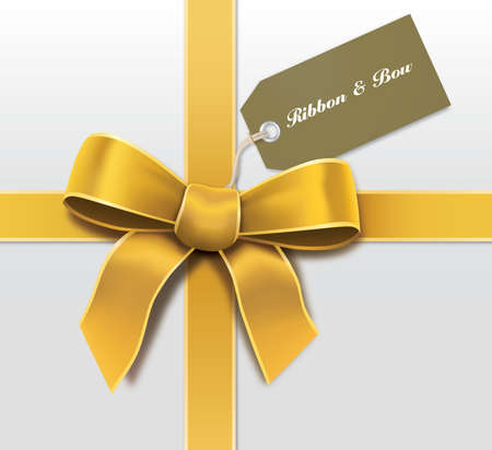 Satin gold ribbon with card