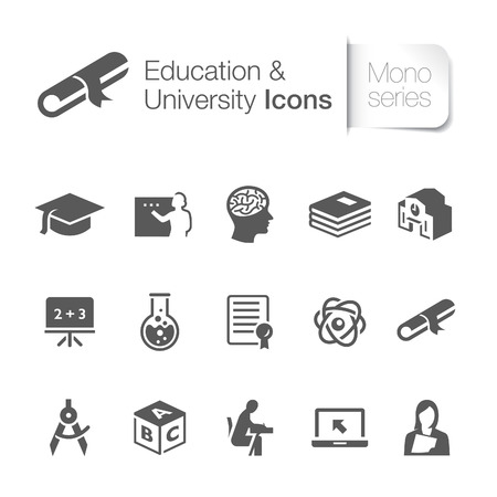college building: Education related icons   Illustration