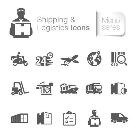Icônes de la logistique d'expédition liés Banque d'images - 27856124