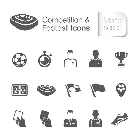 Competitie voetbal gerelateerde pictogrammen Vector Illustratie