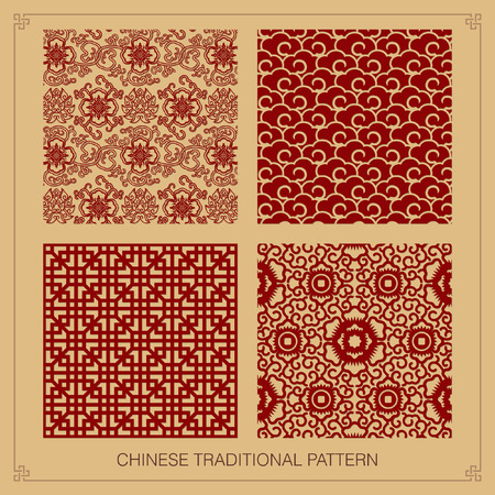 flower patterns: Vintage Chinese patroon. Stock Illustratie