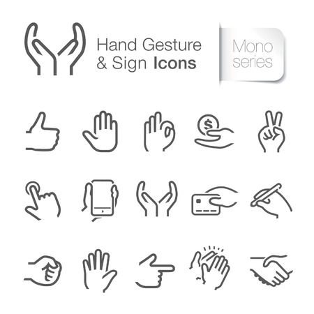 thump: Hand gesture  sign icons Illustration