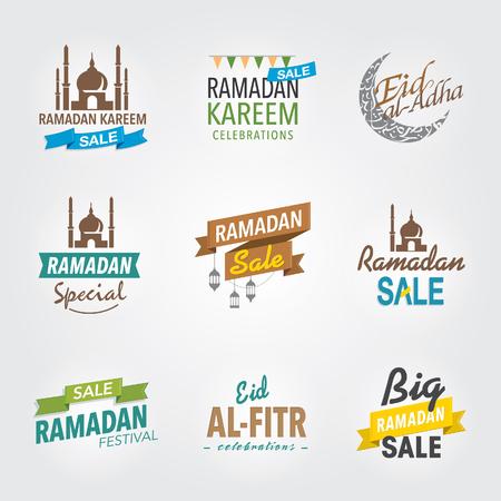 Set of Ramadan greeting headers.