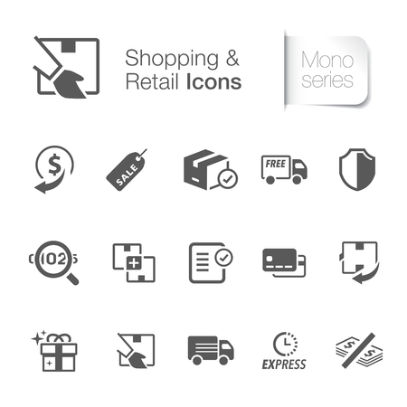 Shopping and retail icons Vector illustration isolated on white background.