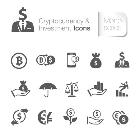 Cryptocurrency and investment icons Vector illustration isolated on white background.
