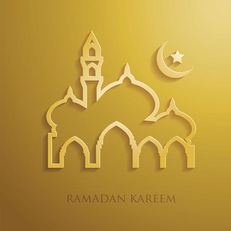 Ramadan graphic in gold background Illustration