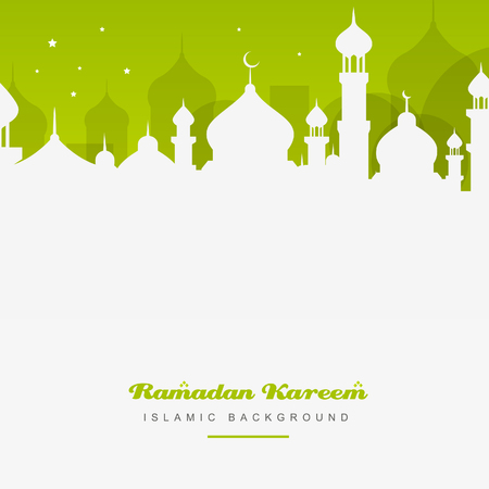 Islamic greetings graphic design in green background