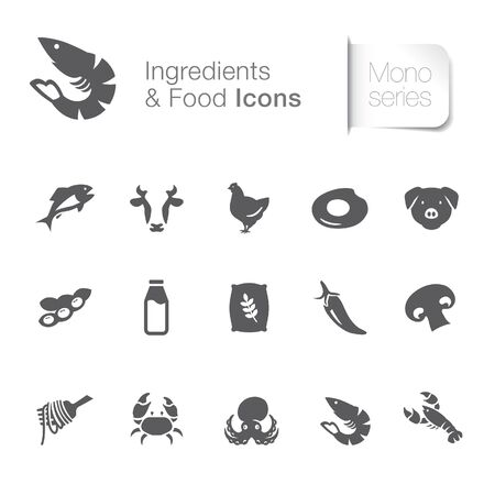 Food & ingredients related icons. seafood, poultry, vegetable.