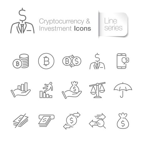 Cryptocurrency related icons. Bitcoin, transactions, payments, e wallet.