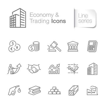 Economy & trading related icons. Bank, industry, finance, stock exchange, crude oil etc.