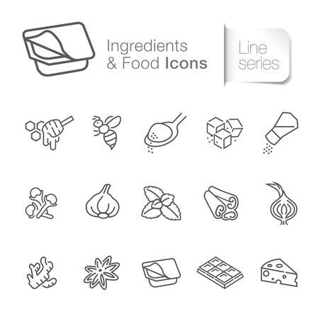 Ingredient & food related icons. Honey, garlic, chocolate. Ilustração