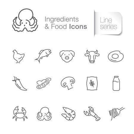 Ingredient & food related icons. Seafood, poultry, farm.