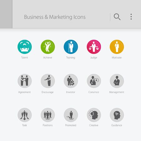 Management & marketing related icons. Teamwork, training, achieve.