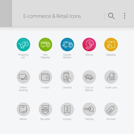 E-commerce & retail related icons. Shopping cart, E-commerce.