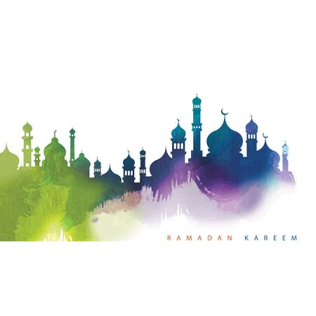 Colourful Mosque silhouette Vector Illustration