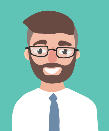 A happy young hipster man with the beard vector flat design illustration isolated