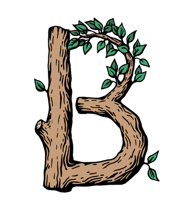Black engraving Letter B made of wood with leaves