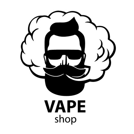 Hand-drawn hipster with mustache and beard. Man with vape and cloud.