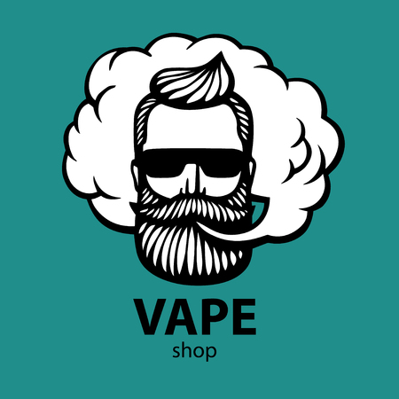 Hand-drawn hipster with mustache and beard. Man with vape and cloud. Electronic Cigarette. Vector. Stickers. logo. Emblem