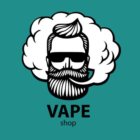 Ręcznie rysowany hipster z wąsami i brodą. Człowiek z vape i chmur. E-papieros. Wektor. Naklejki. logo. Godło