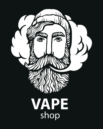 Hipster with vape and cloud. isolated vaper men on black vector background. Hand-drawn hipster dude with mustache and beard.
