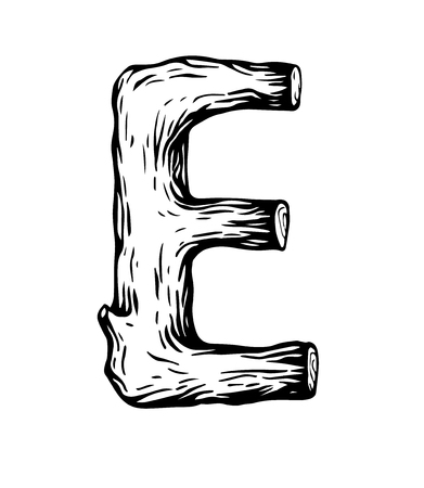 Black engraving Letter E made of wood vector illustration Ilustracja