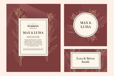 Vintage wedding set with botanical. Wedding invitation, save the date, reception card. Wedding concept. Floral poster, invite.