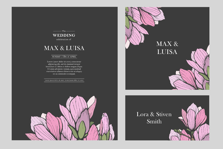 Vintage wedding set with magnolia. Wedding invitation, save the date, reception card. Wedding concept. Floral poster, invite.