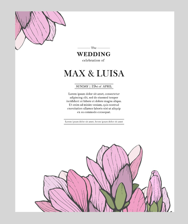 Vintage wedding template with magnolia. Wedding invitation, save the date, reception card. Wedding concept. Floral poster, invite.