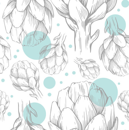 Seamless pattern with hand drawn artichokes. Vector illustration. Botanical pattern for textiles and wallpapers.