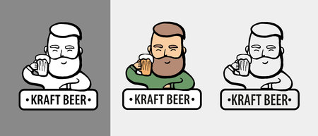 Hand-drawn hipster dude with mustache, beard with beer. Man with glass of alcohol.