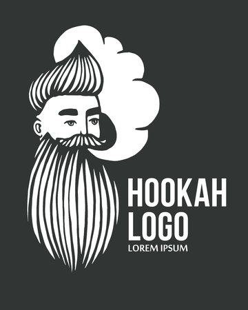 Hookah and-drawn hipster with mustache and beard. Man with cloud. Vector hookah