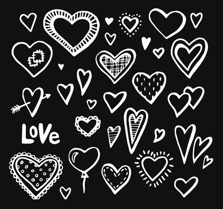 hand drawn hearts set of design elements. Vector illustration Valentine hearts Vettoriali