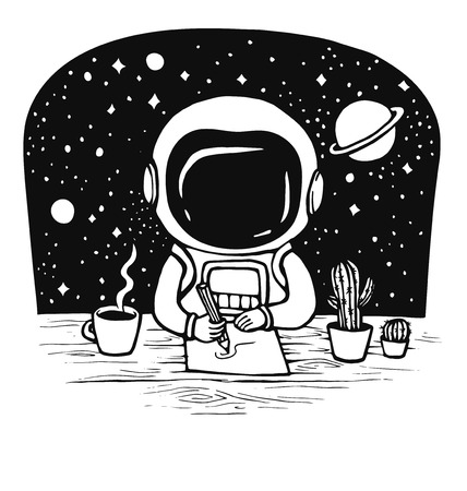 Cute astronaut draws at the table in space. Hand drawn vector illustration