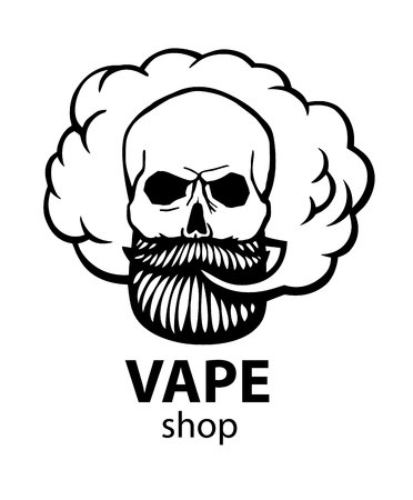 Hand-drawn hipster skull with mustache and beard. Man with vape and cloud. Electronic Cigarette. Vector. Vetores