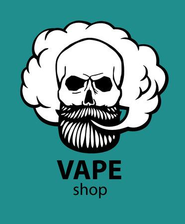 Teschio hipster disegnato a mano con baffi e barba. Uomo con vape e cloud. Sigaretta elettronica. Vettore. Vettoriali