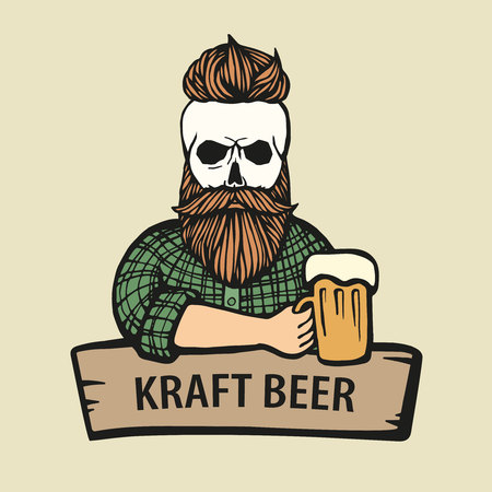 Hand-drawn skull hipster dude with mustache, beard with beer. Man with glass of alcohol. Vector logo. Sticker, logo, Emblem