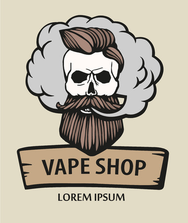 Hand-drawn hipster skull with mustache and beard. Man with vape and cloud. Electronic Cigarette. Vector.