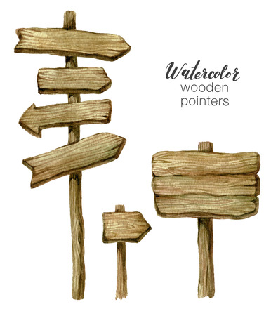 Watercolor wooden sign boards and arrows set. Handpainted collection watercolor wood planks clipart. Rustic illustration. Template for blog, lettering, poster, invitation.