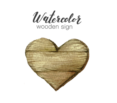 Handpainted watercolor wooden heart clipart. Rustic illustration. Template for blog, lettering, poster, invitation.