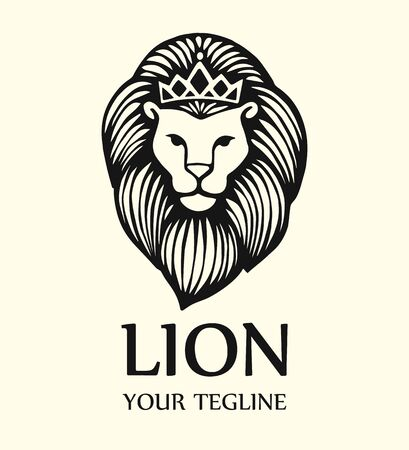 King Lion Head Logo Template, Brand Identity. Lion logo template. Vector illustration Stock Illustratie