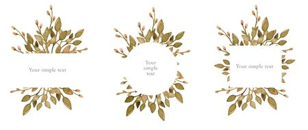 Hand drawn watercolor set of floral wreath isolated on a white background. Use for creating invitations, greeting cards. Botanical illustration. Watercolor frame