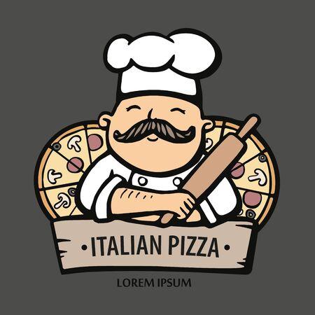 Logo de pizza. Illustration vectorielle dessinée à la main du chef-cuisinier avec une moustache et des pizzas. Logo de chef italien. Logo