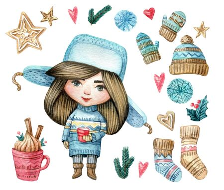 Watercolor set of character girl in sweater and hat with a cup and new eyear elements. Cute Christmas girl. Watercolor isolated illustration for winter cards, posters, invitations, banners.