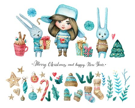 Watercolor set of girl and rabbits, Christmas and new eyear elements: twigs, candies, cukies, stars, mistletoe, decorations. Watercolor isolated illustration for winter cards, posters, invitations. Banco de Imagens