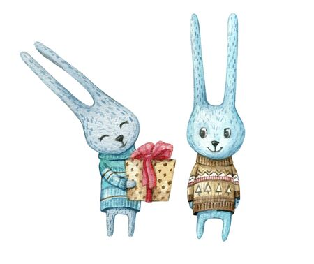 Watercolor character rabbits in sweaters with a Christmas present. Cute Christmas bunnys. Watercolor isolated illustration for cards, posters, invitations, banners.