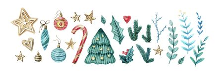 Watercolor set of Christmas and new eyear elements. Cute twigs, candies, cukies, stars, mistletoe, decorations . Watercolor isolated illustration for winter cards, posters, invitations, banner. Banco de Imagens