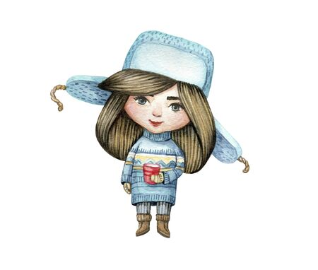 Watercolor character girl in sweater and hat with a cup. Cute Christmas girl. Watercolor isolated illustration for winter cards, posters, invitations, banners.