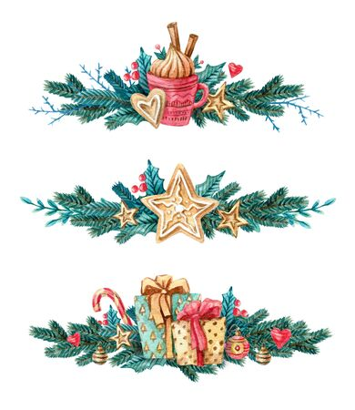 Set of Watercolor Christmas tree branches with gingerbread cookies, mistletoe, cup, presents and sweets. Painting on white background. Illustration for greeting cards, invitations, bunners.