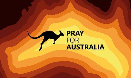 Australia fire. Social poster about climte cataclysm. Illusztráció